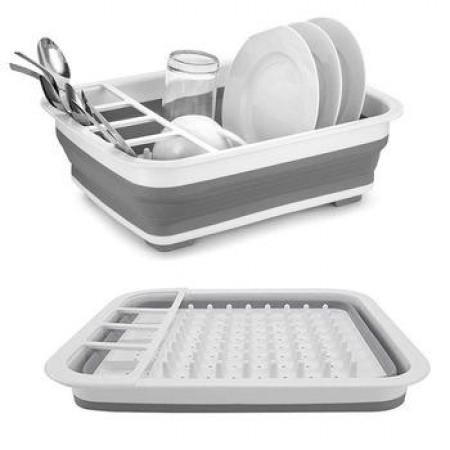 Égouttoir repliable pour vaisselle gris
