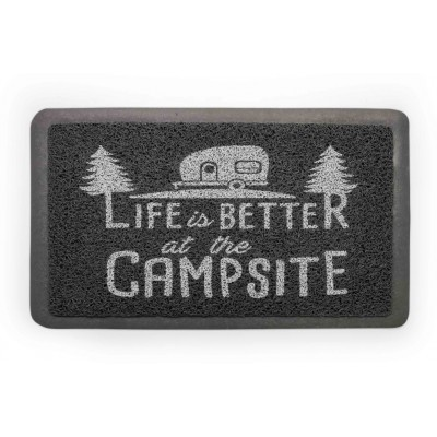 "Tapis d'entrée ""Life Is Better At The Campsite"" Gris/Blanc"