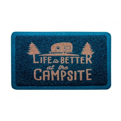 "Tapis d'entrée ""Life Is Better At The Campsite"" Bleu/Orange"